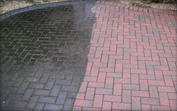 Stone brick restoration cleaning doff sytem blackburn darwen for Clean driveway without pressure washer